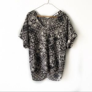 Lush black and cream Aztec/ Geo Print Top